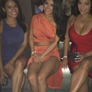 JLUXLABEL Dresses - Two piece peach orange outfit
